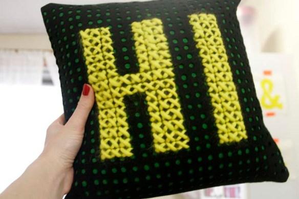 hi cross stitch pillow