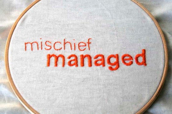 mischief managed embroidery