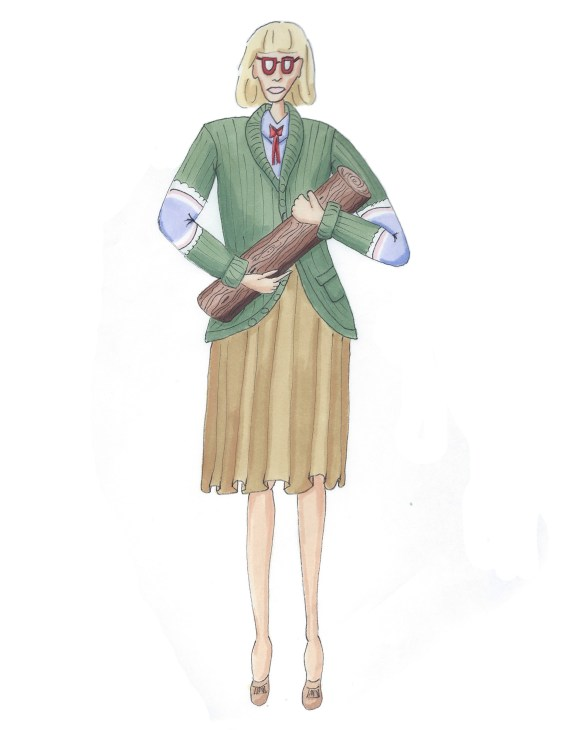 illustration of the log lady from twin peaks