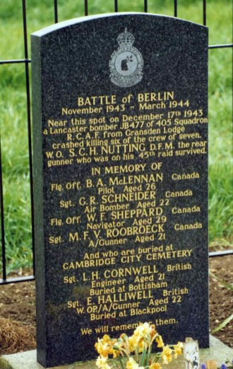 405 Squadron memorial stone at Yelling