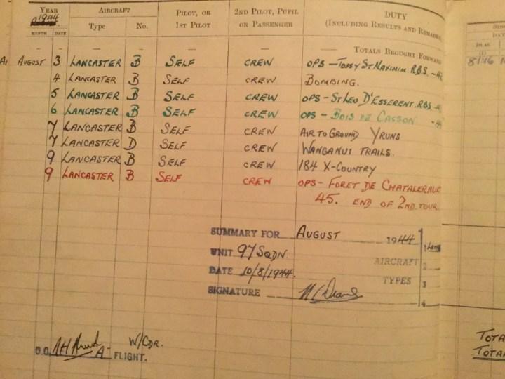 Peter Drane logbook 1944