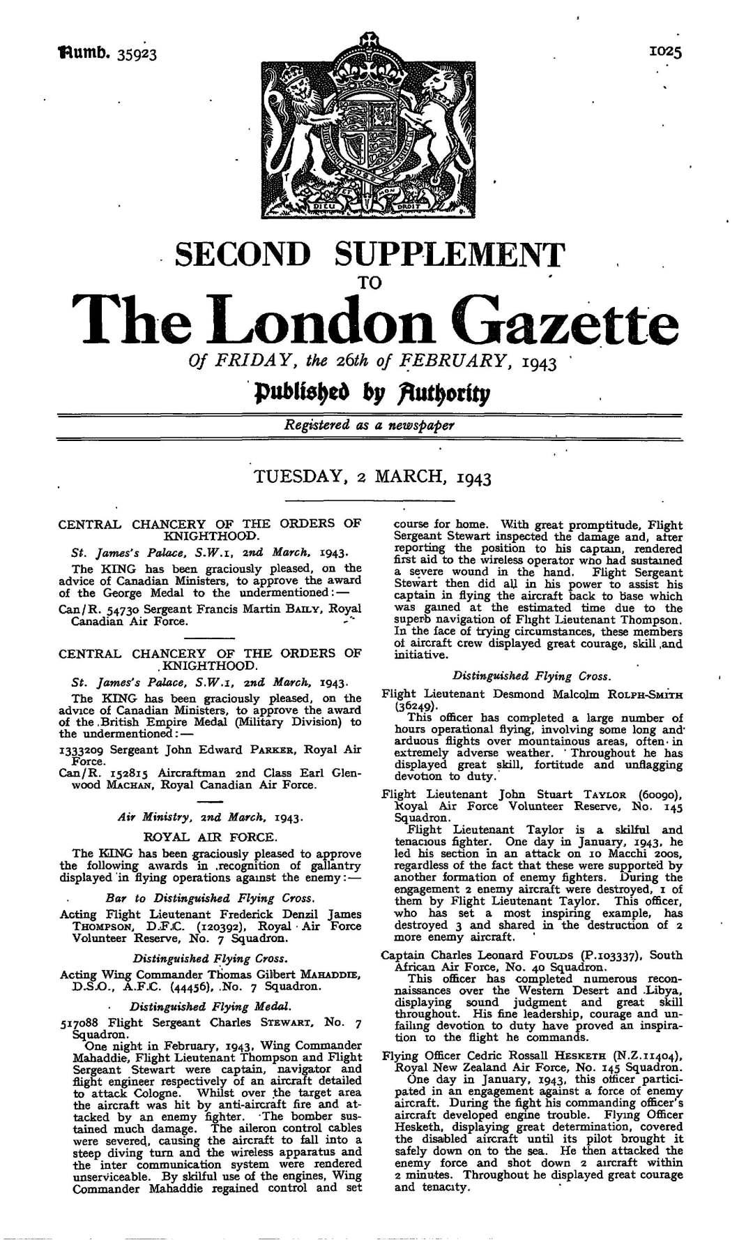 london gazette, Feb 1943