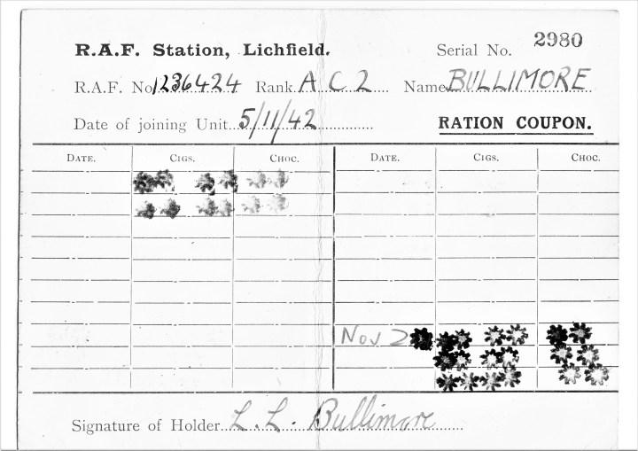bullimore ration coupon, novermber 1942