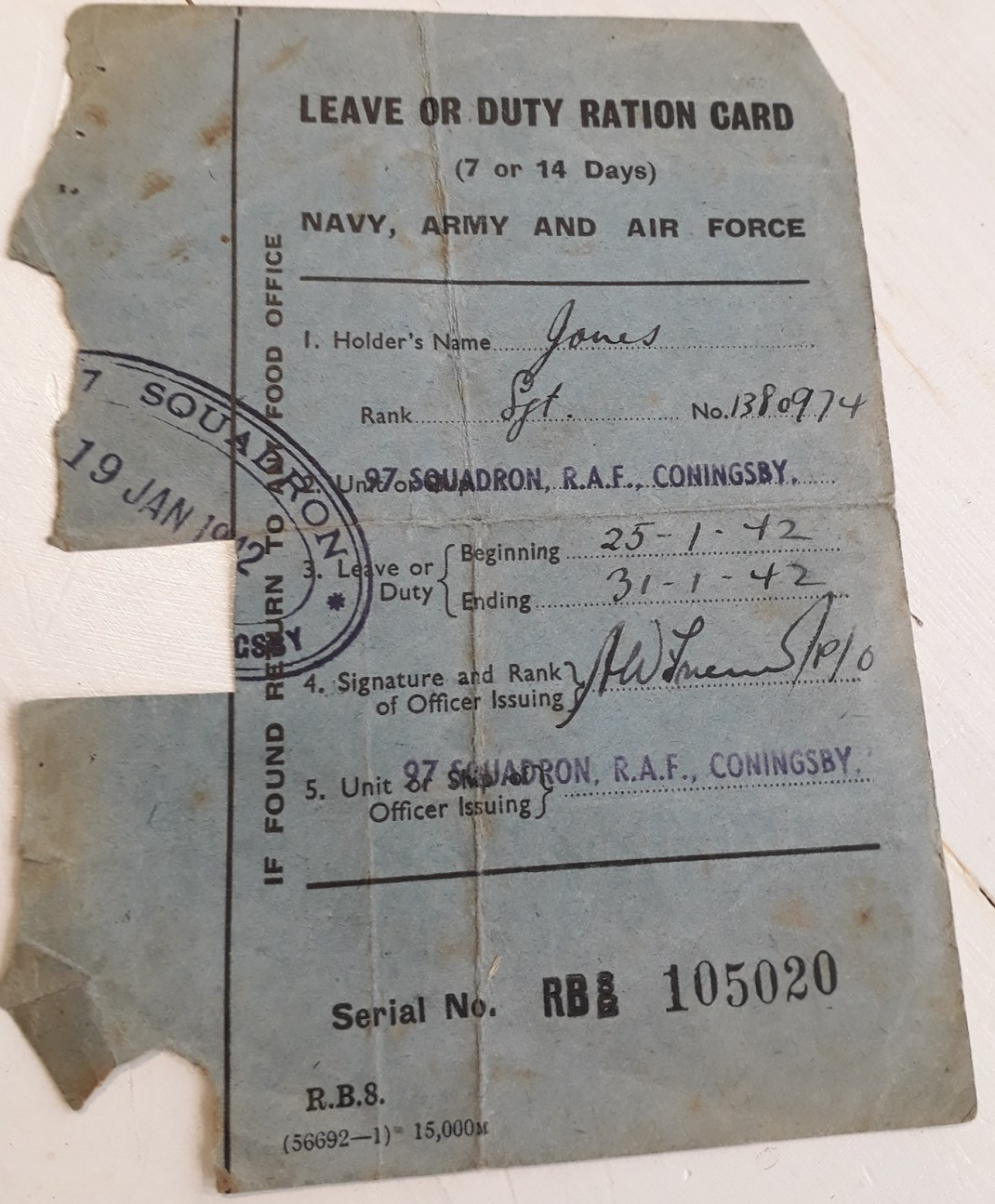 leslie jones ration card, 97 squadron low-res