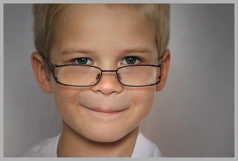 Inteligente, Criança, Óculos, Portadores De Espetáculo