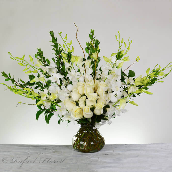 I Love White Orchids And Roses Is An Elegant Design Of Exotic Orchids