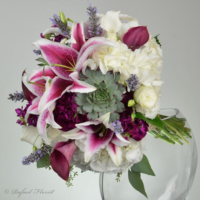 Wedding Bouquet With Stargazer Lilies Calla Lilies Succulents And