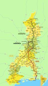 Mapa ilustrativo da Estrada Real