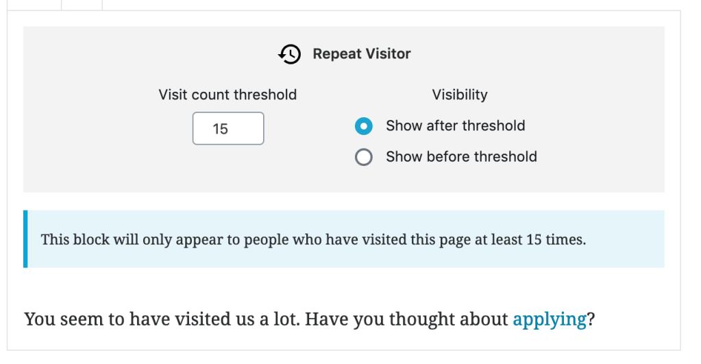 Exemplo de como o bloco Repeat Visitor é exibido no editor