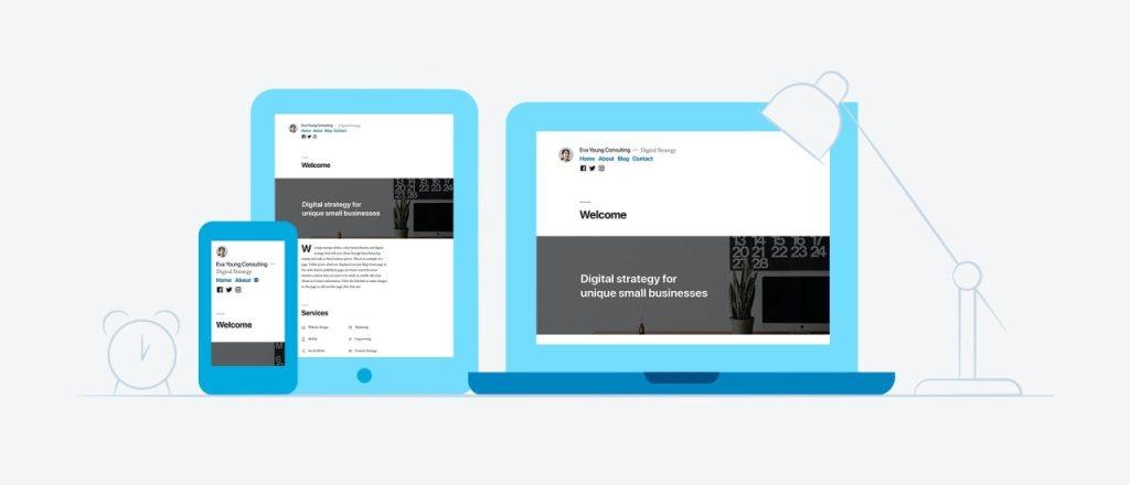 Apresentação do tema Twenty Nineteen em um laptop, tablet e smartphone
