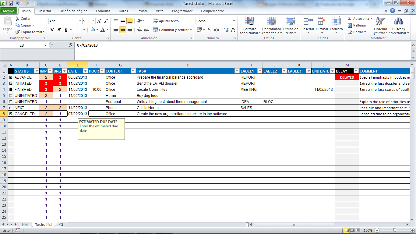 manage effectively your tasks list with this free excel