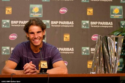 """Rafael Nadal gives a press conference after winning the BNP Paribas Open Sunday, March 18, 2013 in Indian Wells, California."" Photo by Billie Weiss"