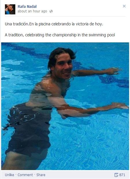 Rafael Nadal's Facebook 2013 April 28 Barcelona Open