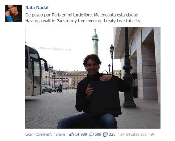 Rafael Nadal's Facebook May 29 2013