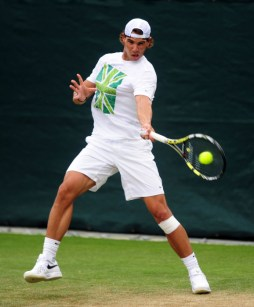 Spain's Rafael Nadal during a practice session at The All England Lawn Tennis and Croquet Club, Wimbledon.