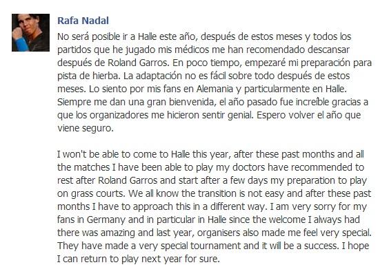 Rafael Nadal's Facebook June 8 2013
