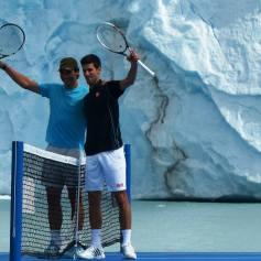 Nadal Djokovic Perito Moreno glacier in Argentina 2013 (1)