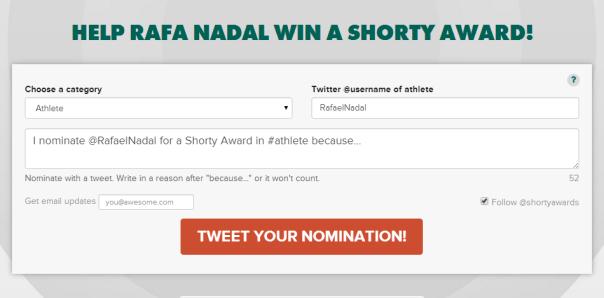 Help Rafa Nadal Win A Shorty Award
