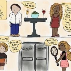 Rafa misunderstands Serena's helpful suggestion about hair transplants…. (via 40-love-art-doodles)