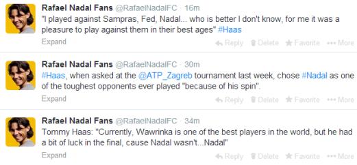 Tommy Haas on Nadal Federer Djokovic Sampras