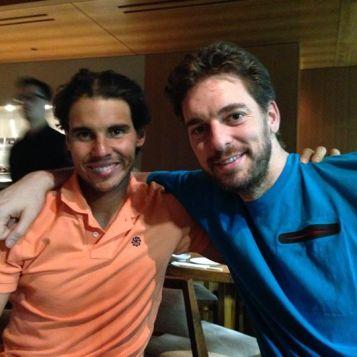 Rafa and Pau Gasol in IW, 2014. (Photo via Rafa Nadal Facebook)