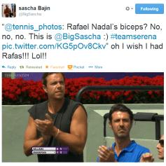 Serena's hitting partner wants to have biceps like Rafa :) (via @tennis_photos)