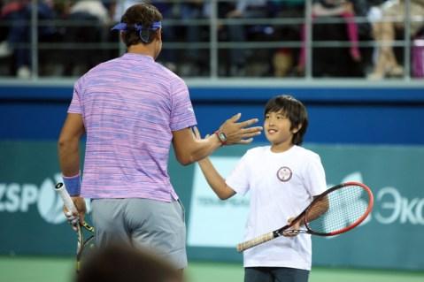 Rafael Nadal v Jo-Wilfried Tsonga Kazakhstan exhibition (8)