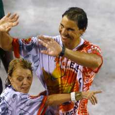 Tennis player Nadal of Spain waves during the annual carnival parade in Rio de Janeiro's Sambadrome
