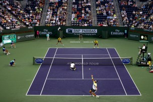 Rafael Nadal and Pablo Carreno Busta vs Marc Lopez Marcel Granollers Indian Wells doubles 2015