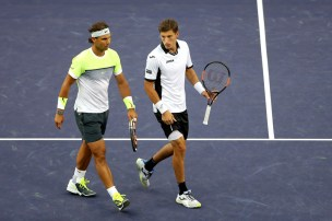 Rafael Nadal Pablo Carreno Busta Indian Wells doubles 2015