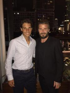 David Beckham via Facebook: Great to see Rafa Nadal in Miami.