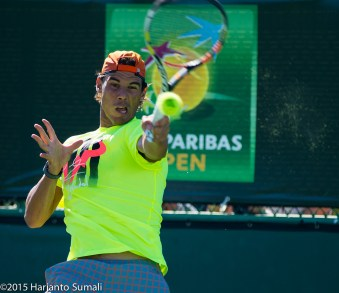 Rafael Nadal practicing in Indian Wells 2015