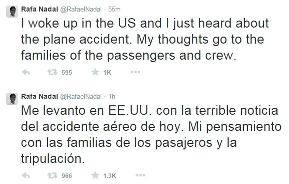 Rafael Nadal sends condolences over plane crash in French Alps