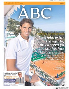 Rafael Nadal on the front cover of ABC