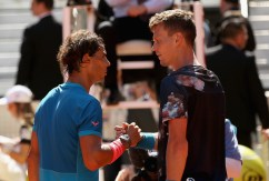 Rafael Nadal of Spain shakes hands at the net after his straight sets victory against Tomas Berdych of the Czech Republic in their semi final match during day eight of the Mutua Madrid Open tennis tournament at the Caja Magica on May 9, 2015 in Madrid, Spain. (May 8, 2015 - Source: Clive Brunskill/Getty Images Europe)