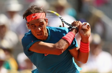 Rafael Nadal of Spain in action against Tomas Berdych of the Czech Republic in their semi final match during day eight of the Mutua Madrid Open tennis tournament at the Caja Magica on May 9, 2015 in Madrid, Spain. (May 8, 2015 - Source: Clive Brunskill/Getty Images Europe)