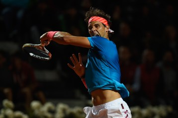 ROME, ITALY - MAY 15: Rafael Nadal of Spain in action during his Quarter Final match with Stan Wawrinka of Switzerland on Day Six of The Internazionali BNL d'Italia 2015 at the Foro Italico on May 15, 2015 in Rome, Italy. (Photo by Mike Hewitt/Getty Images)