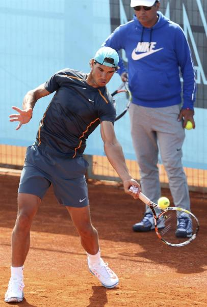 Rafael Nadal in training ahead of Madrid Open second round clash against Steve Johnson (2)