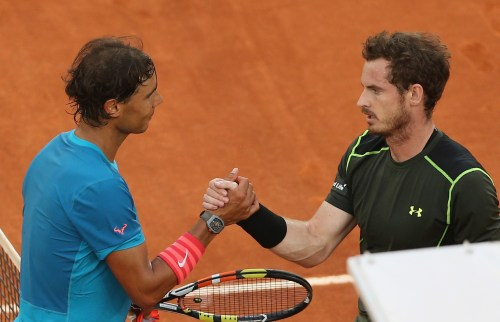 MADRID, SPAIN - MAY 10: Andy Murray of Great Britain shakes hands at the net after his straight sets victory against Rafael Nadal of Spain in the mens final during day nine of the Mutua Madrid Open tennis tournament at the Caja Magica on May 10, 2015 in Madrid, Spain. (Photo by Clive Brunskill/Getty Images)