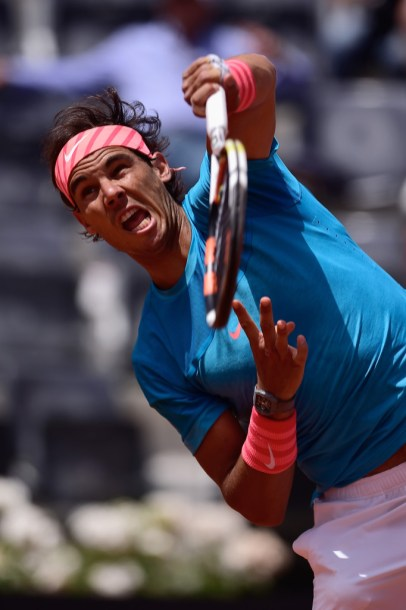 Rafael Nadal of Spain in action during his Third Round victory over John Isner of USA on Day Five of The Internazionali BNL d'Italia 2015 at the Foro Italico on May 14, 2015 in Rome, Italy. (May 13, 2015 - Source: Mike Hewitt/Getty Images Europe)