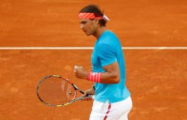 Rafael Nadal of Spain celebrates a point won against Andy Murray of Great Britain during the final of the Madrid Open Tennis tournament in Madrid, Spain, Sunday, May 10, 2015. (AP Photo/Daniel Ochoa de Olza)