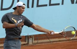 Rafael Nadal practices in Madrid