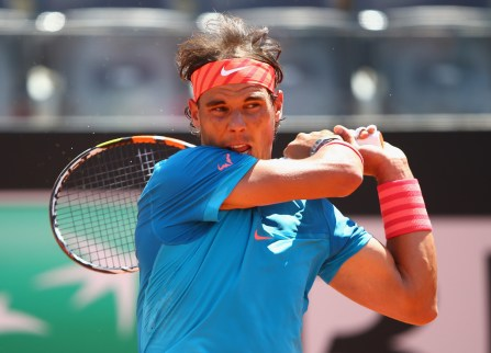 Rafael Nadal of Spain in action during his match against Marsel Ilhan of Turkey on Day Four of the The Internazionali BNL d'Italia 2015 on May 13, 2015 in Rome, Italy. (May 12, 2015 - Source: Ian Walton/Getty Images Europe)