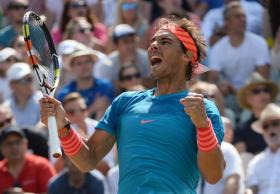 Rafael Nadal of Spain celebrates after winning the final match against Viktor Troicki of Serbia at the ATP tennis tournament in Stuttgart, Germany, 14 June 2015. (Tenis, Alemania, España) EFE/EPA/MARIJAN MURAT