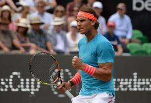 Rafael Nadal of Spain makes a fist in the semifinal of the ATP tennis tournament against Monfils of France in Stuttgart, Germany, 13 June 2015. (Tenis, Francia, Alemania, España) EFE/EPA/Marijan Murat