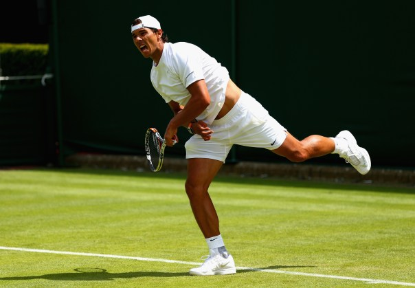 LONDON, ENGLAND - JUNE 27:  Rafael Nadal of Spain in action during a practice session prior to the Wimbledon Lawn Tennis Championships at the All England Lawn Tennis and Croquet Club on June 27, 2015 in London, England.  (Photo by Clive Brunskill/Getty Images)