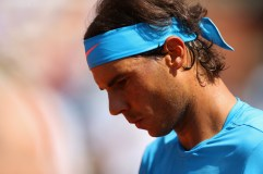 PARIS, FRANCE - JUNE 03: Rafael Nadal of Spain looks on in his Men's quarter final match against Novak Djokovic of Serbia on day eleven of the 2015 French Open at Roland Garros on June 3, 2015 in Paris, France. (Photo by Clive Brunskill/Getty Images)