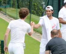 Rafael Nadal Practices With Andy Murray At Wimbledon (2)