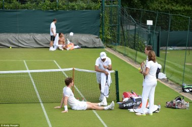 Rafael Nadal Practices With Andy Murray At Wimbledon (6)