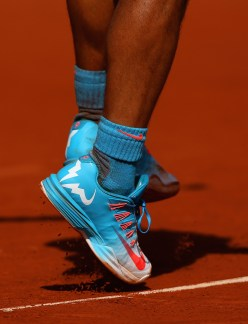 PARIS, FRANCE - JUNE 03: A detailed view of Rafael Nadal of Spain's shoes in his Men's quarter final match against Novak Djokovic of Serbia on day eleven of the 2015 French Open at Roland Garros on June 3, 2015 in Paris, France. (Photo by Clive Brunskill/Getty Images)